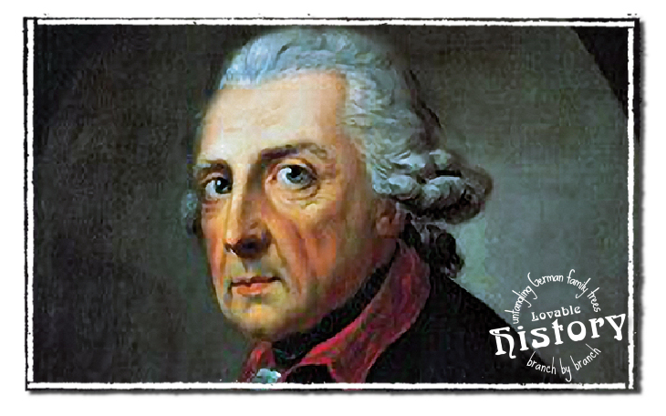 Lovable history - names in old German script - King Frederick the Great (Friedrich II.)