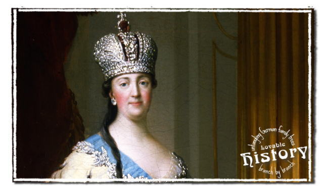 Lovable history - names in old German script - Tsarina Catherine the Great