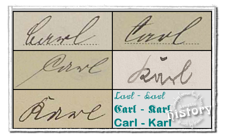 German names in old German script: Karl