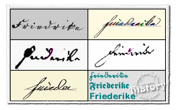 German names in old German script: Friedrich and Friederike