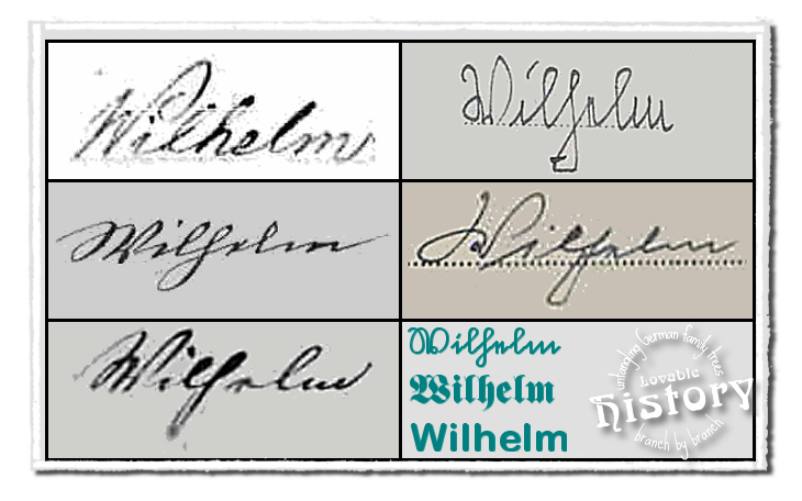 German names in old German script: Wilhelm